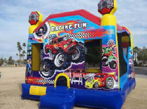21x16 4 in 1 Racing Fun Bouncer with 14' Slide & Basketball Hoops Inside