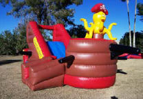 12' Pirate Ship Dry Slide Features Small Bounce Area & Obstacles Inside Recommended Ages: 3-8