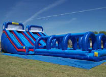 Dual 24' Super Water Slides with Slip & Slides Attached