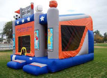 18x15 5 in 1 Sports Arena with 14' Slide, Obstacles, and Basketball Hoops Inside