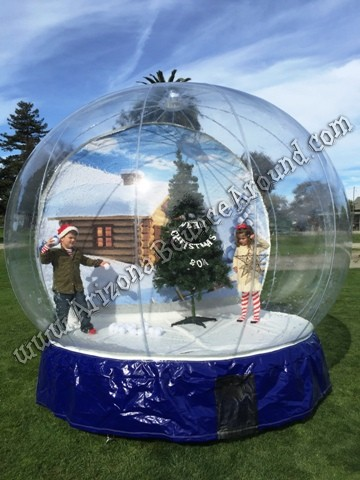 Human Snow Globe with Blowing Snow