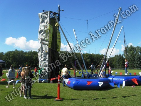 Rock wall rental with bungee trampolines