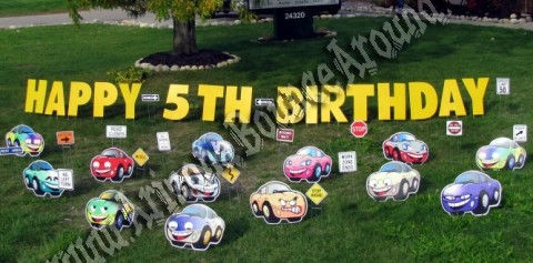 Yard greeting cards birthday party sign rental phoenix scottsdale happy birthday cars yard signs and party decorations in phoenix and scottsdale m4hsunfo