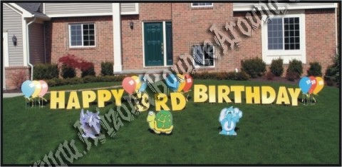 Happy Birthday Zoo Animals yard sign and party decorations in phoenix and scottsdale