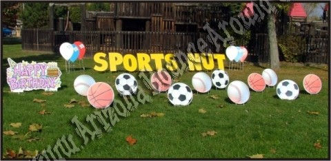 Happy Birthday Sports Yard sign and decorations in phoenix and scottsdale, soccer baseball basketball