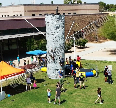 25' Climbing Rock Wall - 2 Person Bungee Trampoline Combo