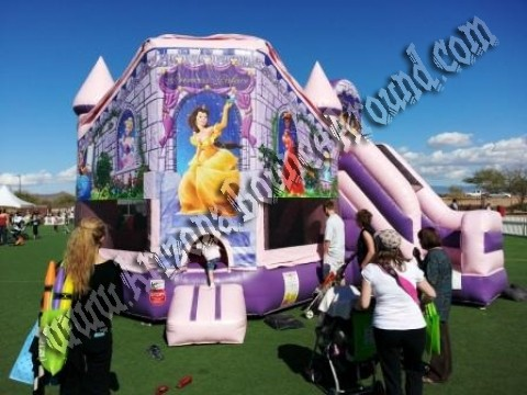 3 & 1 Inflatable Princess Palace Bouncy with 14' Slide Attached