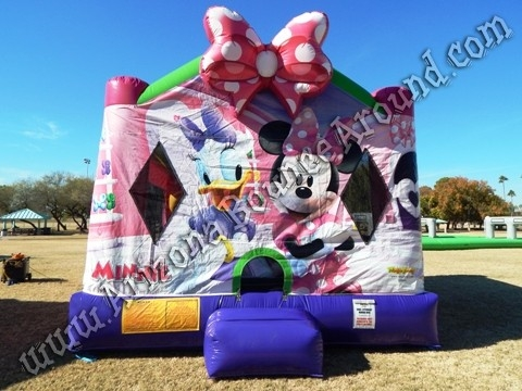4 & 1 Minnie Mouse Bounce House rental with 14' Slide and basketball hoop