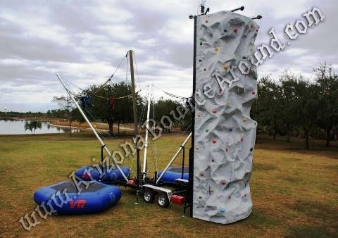 4 Person Rock Wall with 3 Bungee Trampoline Combo