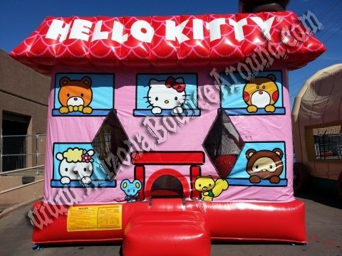 4&1 Hello Kitty Bounce House with 14' Slide and Basketball hoop inside