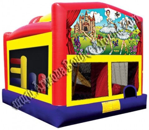 5&1 Ballerina Bounce House with 14' Slide, Basketball hoop and Obstacle Course inside