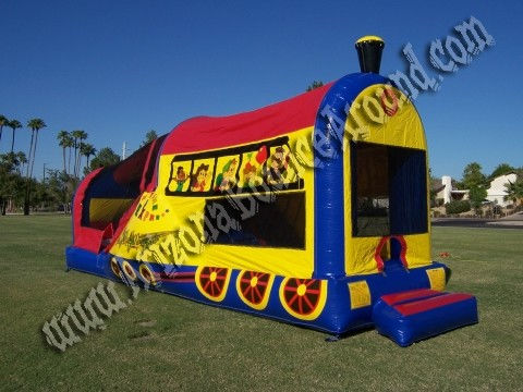 3 & 1 Choo Choo Train Bounce House Rental with Duel Lane Slide