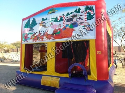 Christmas Bounce House Rental with 14' Slide, Basketball hoop and Obstacle Course inside