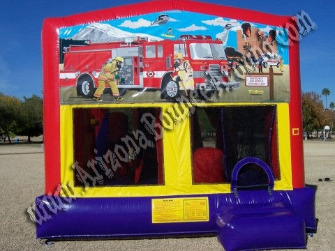 5&1 CYT Fire Truck Bounce House rental with 14' Slide, Basketball hoop and Obstacle Course inside