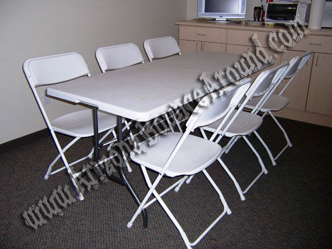 6 Foot Rectangle Table with 6 White Extra Wide Plastic Chairs