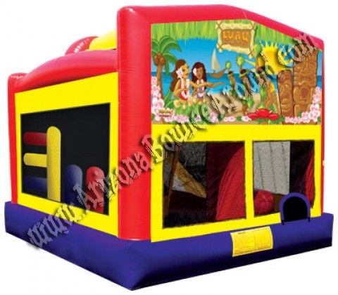 Luau Bounce House Rental with 14' Slide, Basketball hoop and Obstacle Course inside