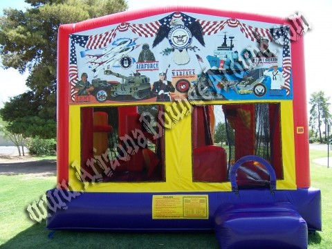 5&1 CYT Military Bounce House Rental with 14' Slide, Basketball Hoop and Obstacle Course Inside