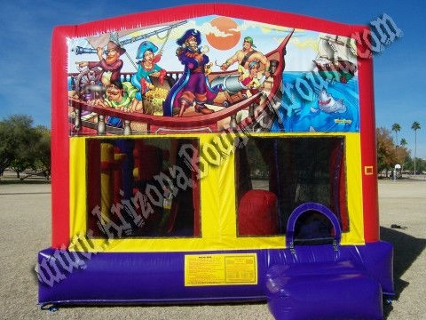 5&1 CYT Pirate Themed Moonwalk Rental with 14' Slide, Basketball hoop and Obstacle Course inside