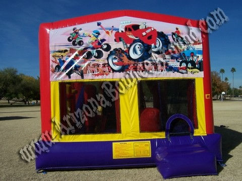 5&1 CYT Monster Truck Moonwalk Rental with 14' Slide, Basketball hoop and Obstacle Course inside