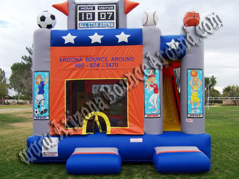 5 & 1 Sports Arena Bounce Rental with 14' Slide, Obstacles and Basketball Hoop Inside