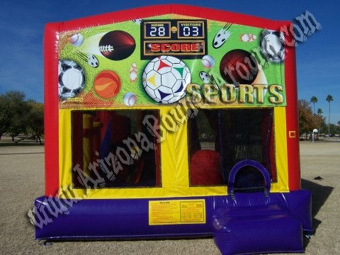 5&1 CYT Sports Bounce House with 14' Slide, Basketball Hoop and Obstacle Course Inside