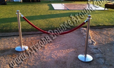 rent chrome stanchions with rope in scottsdale tempe