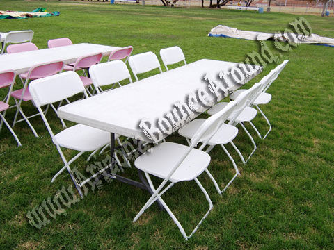 8 Foot Rectangle Table with 8 White Extra Wide Plastic Chairs