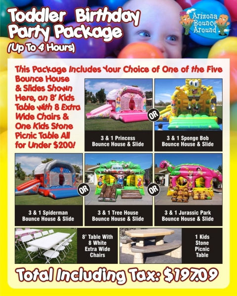 Birthday party ideas with Inflatables and carnival games in Phoenix