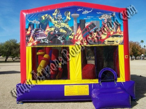 Transformers Combo Bounce House Rental with 14' Slide, Basketball hoop and Obstacle Course inside
