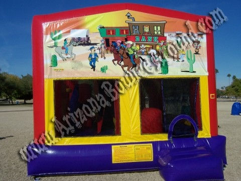 5&1 CYT Western Cowboy Bouncy House with 14' Slide, Basketball Hoop and Obstacle Course Inside